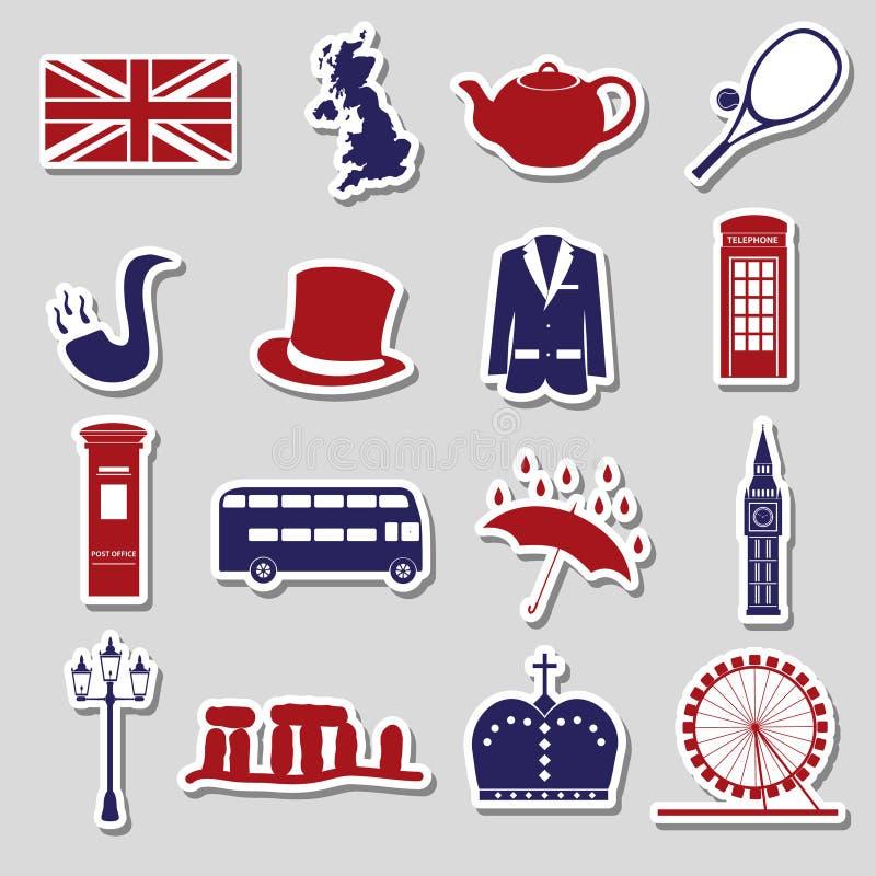 Etiquetas engomadas eps10 de los símbolos del tema del país de Reino Unido ilustración del vector