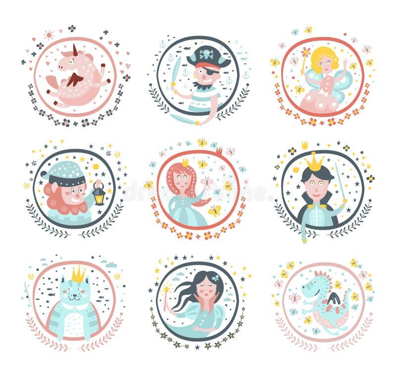 Etiquetas engomadas femeninas de los caracteres del cuento de hadas en marcos redondos ilustración del vector