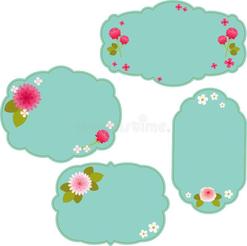 Etiquetas engomadas florales azules hermosas libre illustration
