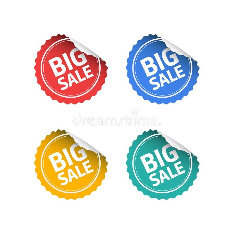 Etiquetas engomadas grandes de la venta ilustración del vector