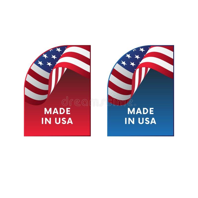 Etiquetas engomadas hechas en los E.E.U.U. Vector stock de ilustración