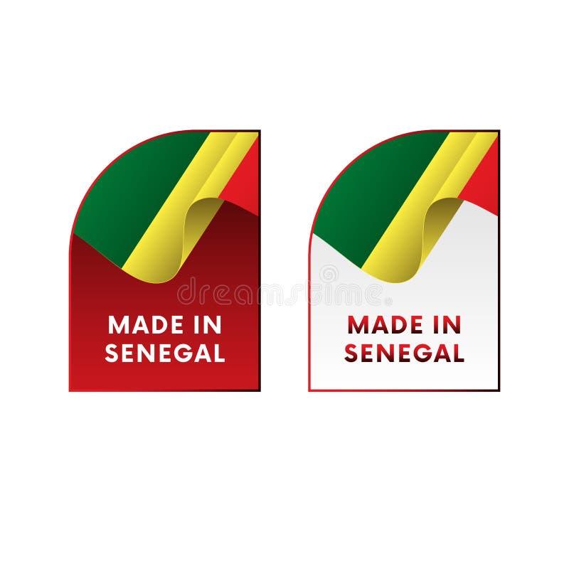 Etiquetas engomadas hechas en Senegal Ilustración del vector ilustración del vector