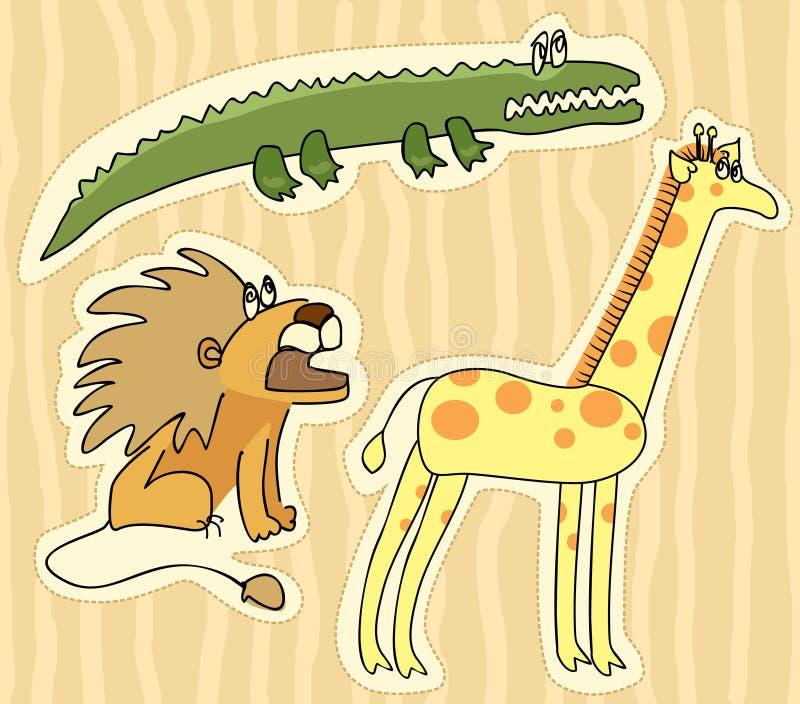 Etiquetas engomadas infantiles con el león, la jirafa y el cocodrilo ilustración del vector