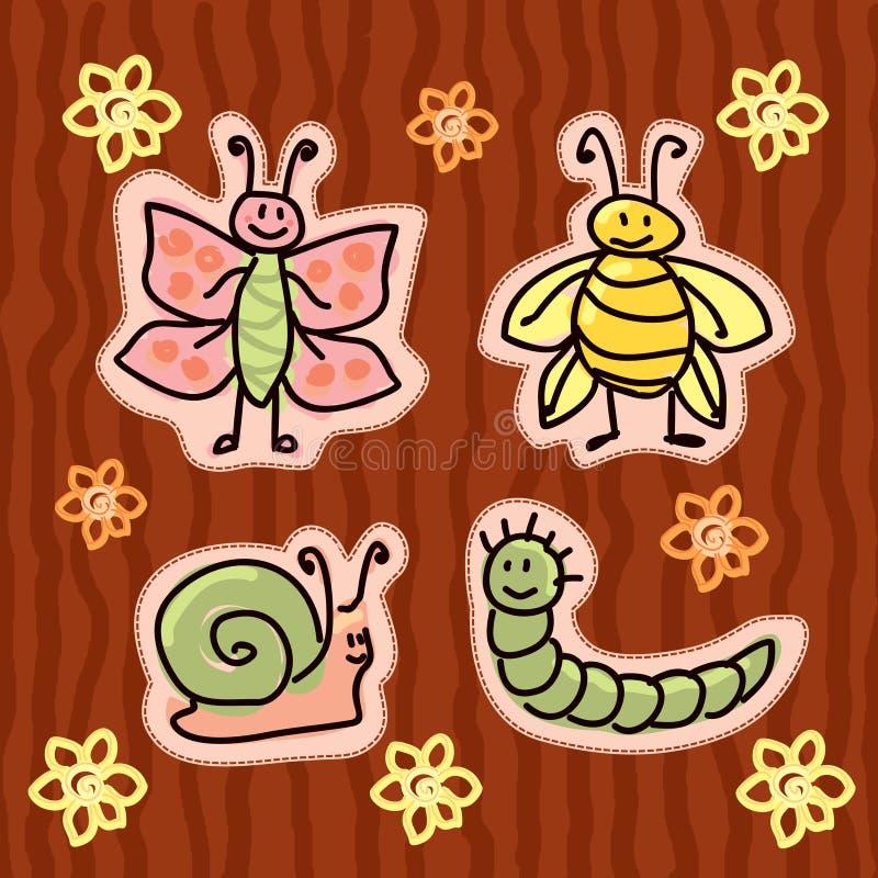 Etiquetas engomadas infantiles del insecto stock de ilustración