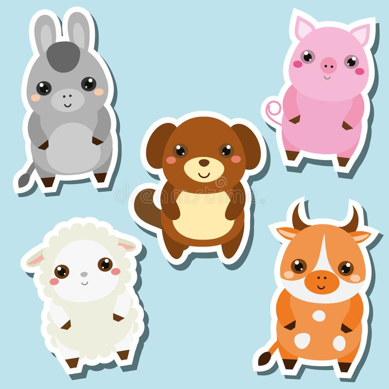 Etiquetas engomadas lindas de los animales del campo del kawaii fijadas Ilustración del vector Cerdo, perro, oveja, vaca stock de ilustración