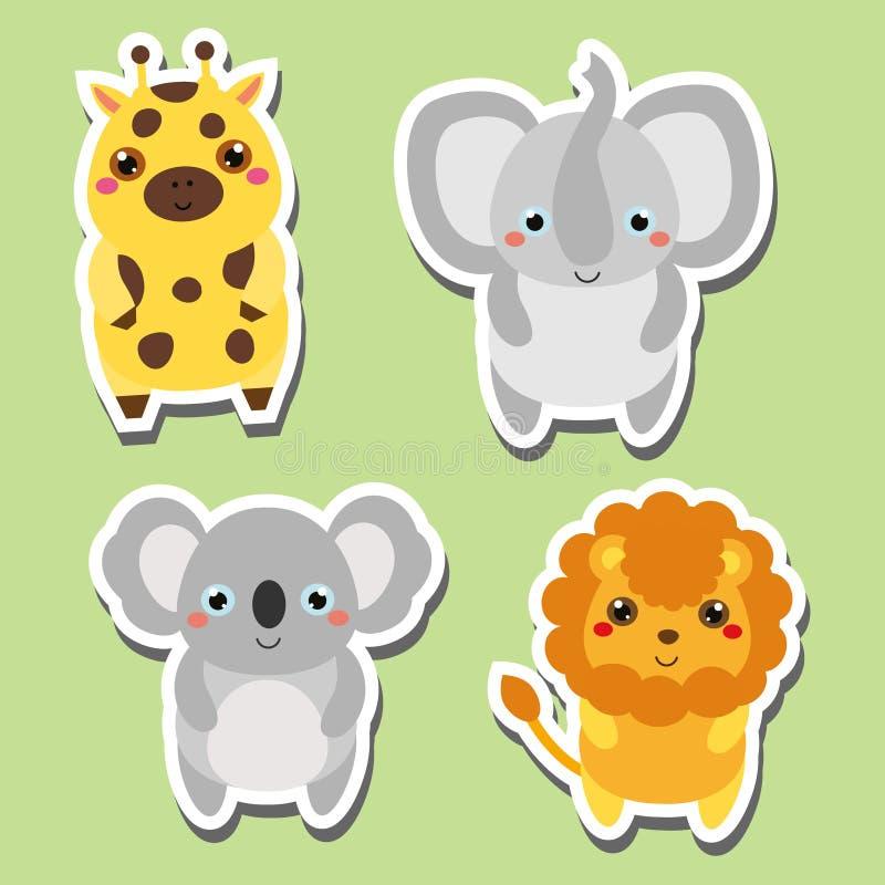 Etiquetas engomadas lindas de los animales del kawaii fijadas Ilustración del vector Jirafa, elefante, koala, león stock de ilustración