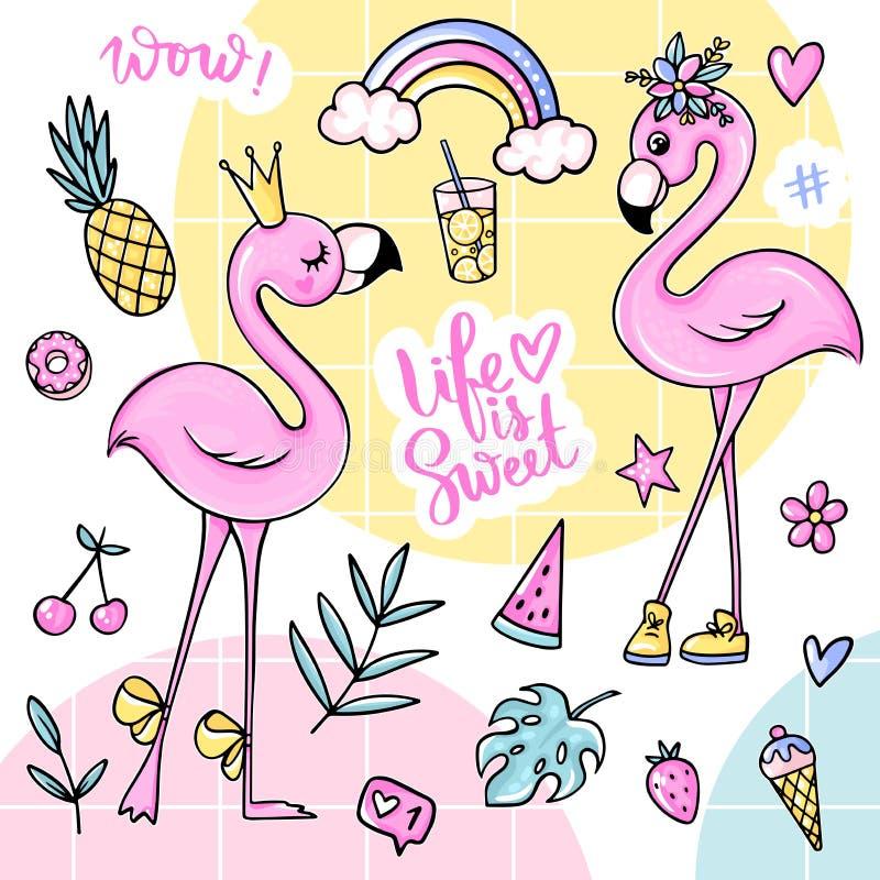 Etiquetas engomadas lindas grandes del verano fijadas con los flamencos, helado, sandía, piña, arco iris, limonada, cereza stock de ilustración