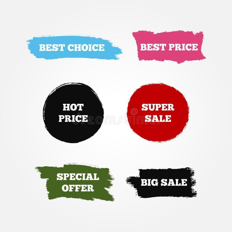 Etiquetas engomadas, logotipo, muestras con la mejor opción del texto, precio caliente, venta estupenda grande, oferta especial libre illustration