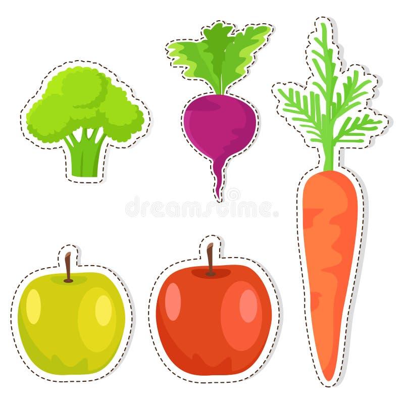 Etiquetas engomadas maduras del vector de las frutas y verduras fijadas libre illustration