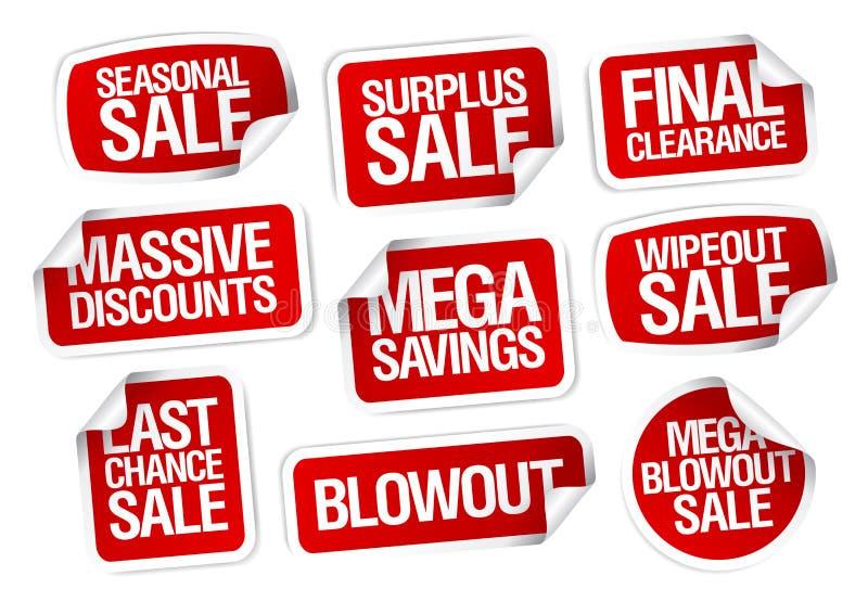 Etiquetas engomadas mega de la venta de los ahorros stock de ilustración