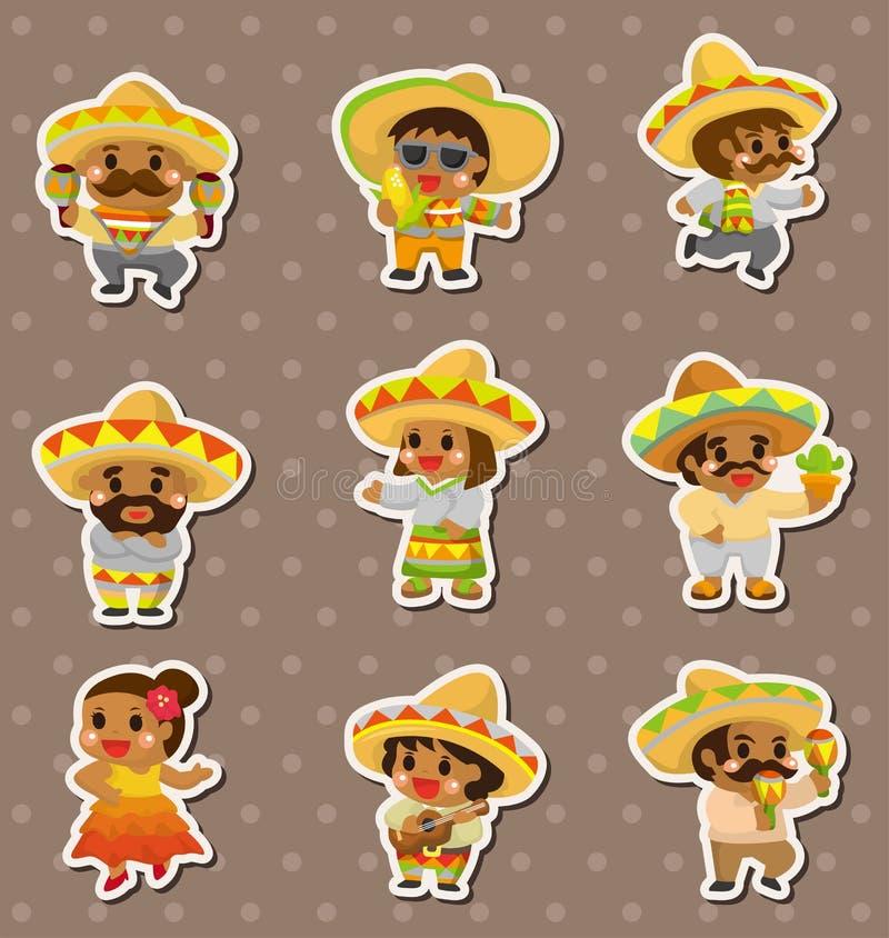 Etiquetas engomadas mexicanas de la gente libre illustration