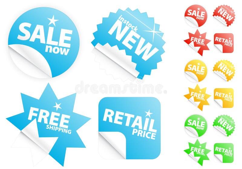 Etiquetas engomadas modernas brillantes en venta/tema al por menor ilustración del vector