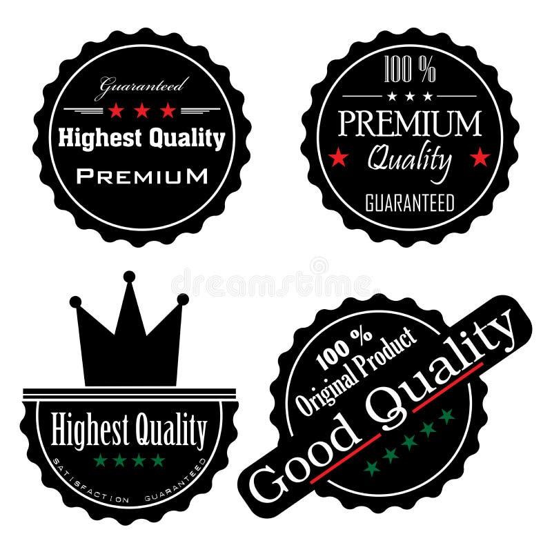 Etiquetas engomadas negras de la alta calidad ilustración del vector