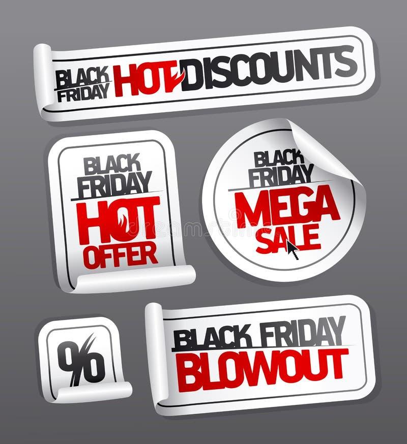 Etiquetas engomadas negras de la venta de viernes, descuentos calientes, venta mega ilustración del vector