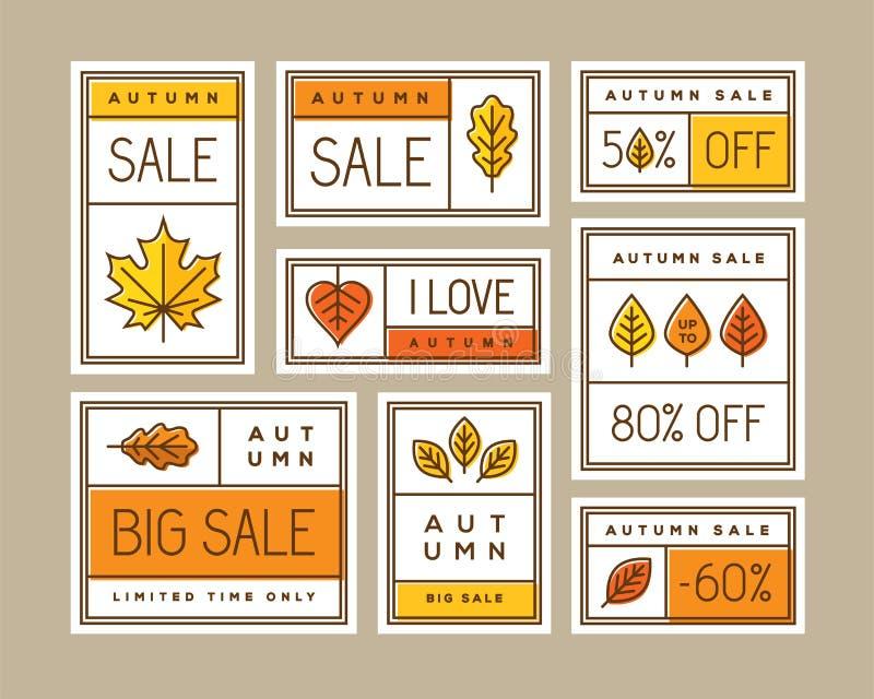 Etiquetas, etiquetas engomadas, etiquetas o banderas de la venta del otoño fijadas stock de ilustración