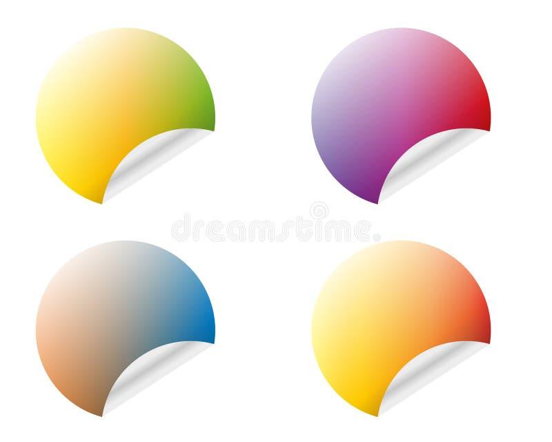 Etiquetas engomadas redondas con el borde encrespado en diversas variantes de los colores aislado en el fondo blanco libre illustration