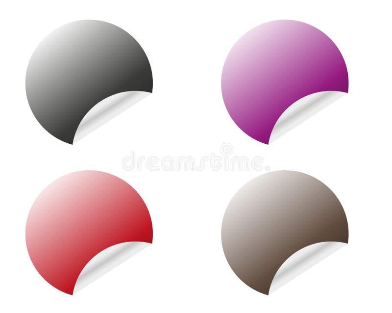 Etiquetas engomadas redondas con el borde encrespado en diversas variantes de los colores aislado en el fondo blanco stock de ilustración