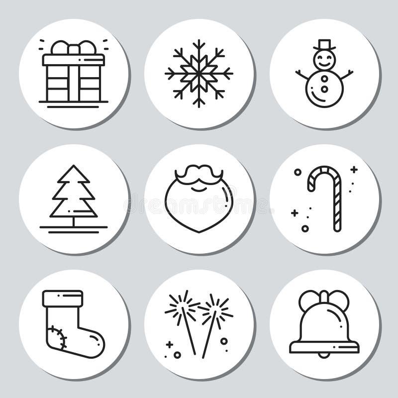 Etiquetas engomadas redondas del regalo de los iconos del Año Nuevo de la Navidad Sistema de Navidad de las etiquetas Elemento de ilustración del vector