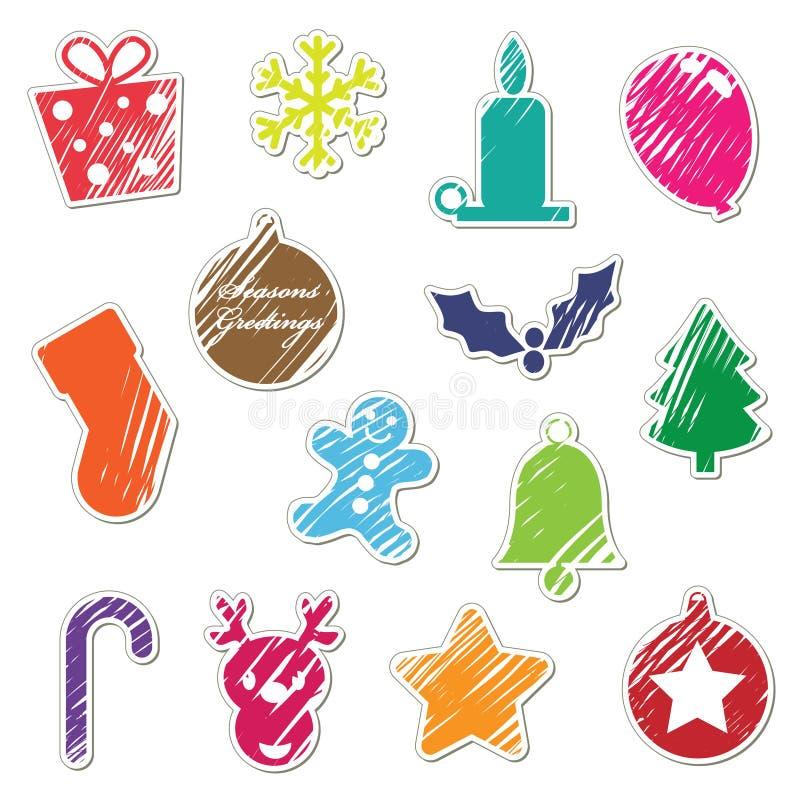 Etiquetas engomadas retras de la Navidad ilustración del vector