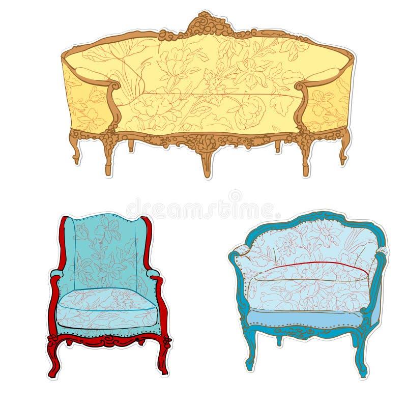 Etiquetas engomadas rococóes antiguas de los muebles ilustración del vector