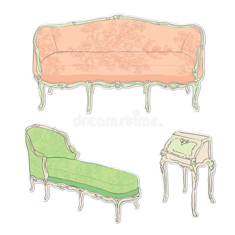Etiquetas engomadas rococóes de los muebles antiguos ilustración del vector