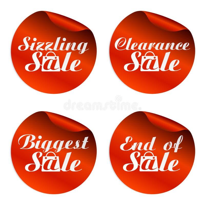 Etiquetas engomadas rojas de la venta con la cinta negra el 15,25,35,45 por ciento apagado libre illustration