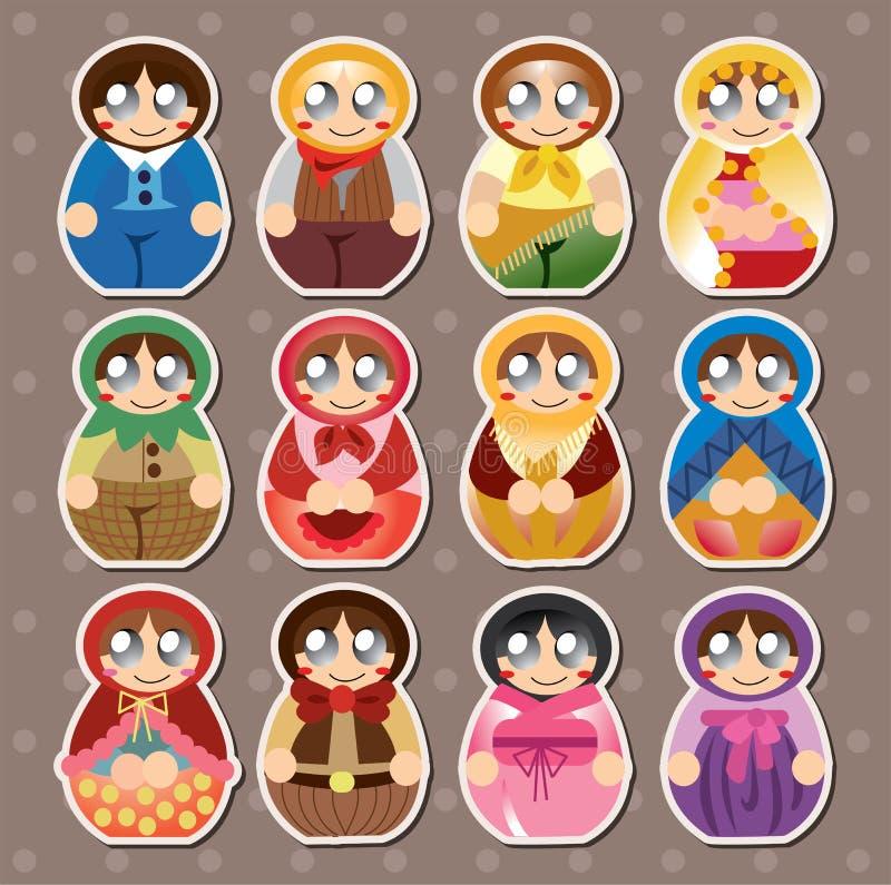 Etiquetas Engomadas Rusas De Las Muñecas Imagen de archivo