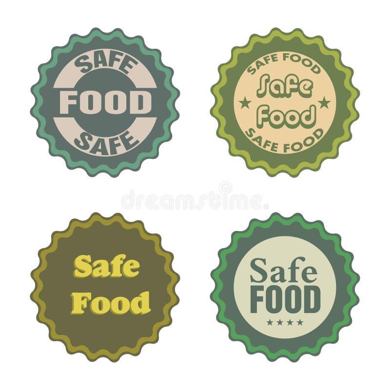 Etiquetas engomadas seguras de la comida ilustración del vector