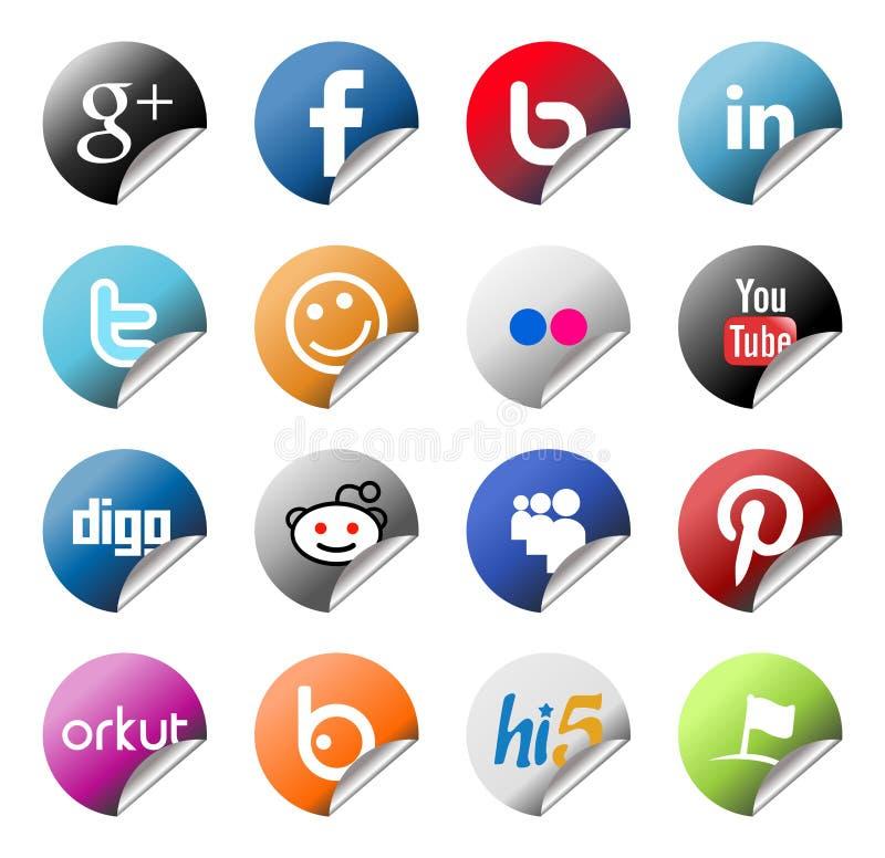 Etiquetas engomadas sociales del logotipo de la red fijadas ilustración del vector