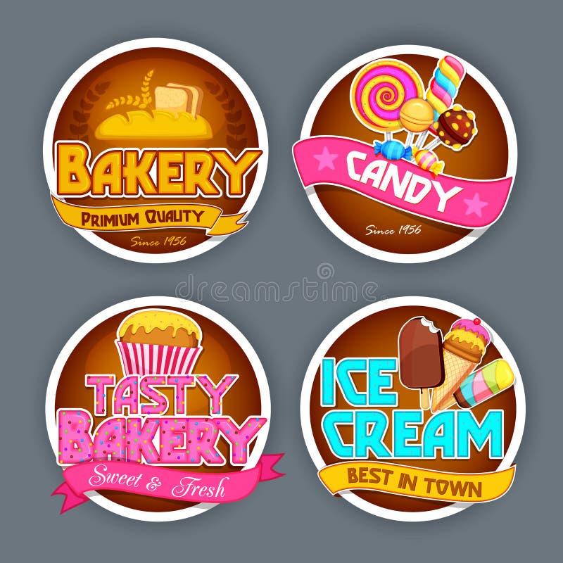 Etiquetas engomadas tipográficas fijadas para el concepto de la comida libre illustration