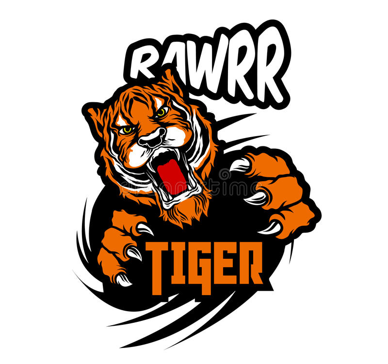 Etiquetas engomadas vivas salvajes del tigre ilustración del vector