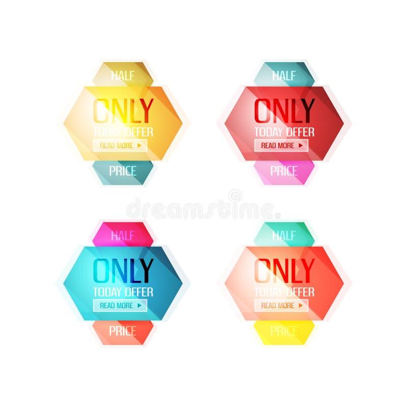 Etiquetas engomadas y banderas de la oferta especial del vector stock de ilustración