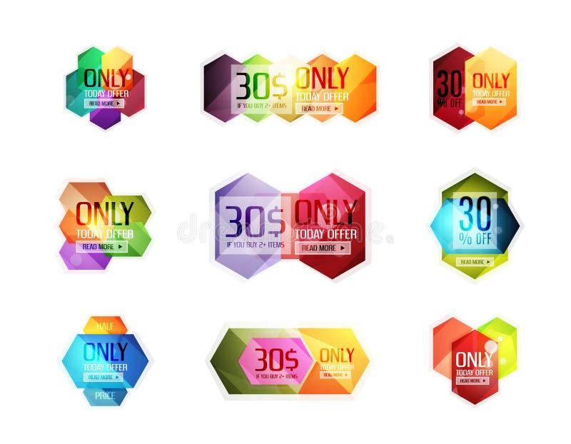 Etiquetas engomadas y banderas de la oferta especial del vector ilustración del vector