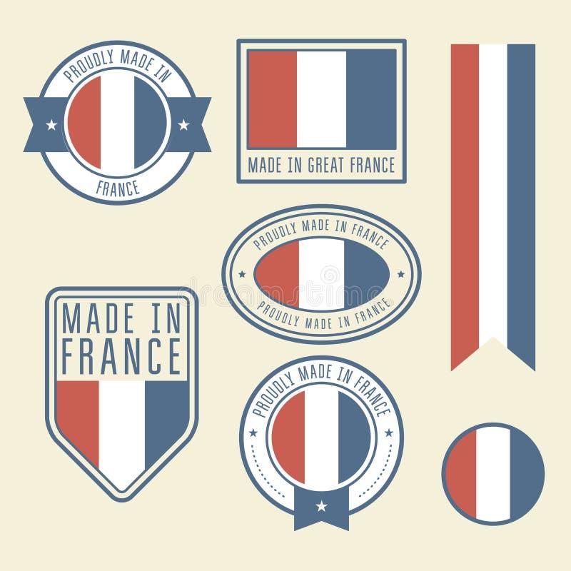 Etiquetas engomadas, etiquetas y etiquetas con la bandera de Francia - insignias ilustración del vector