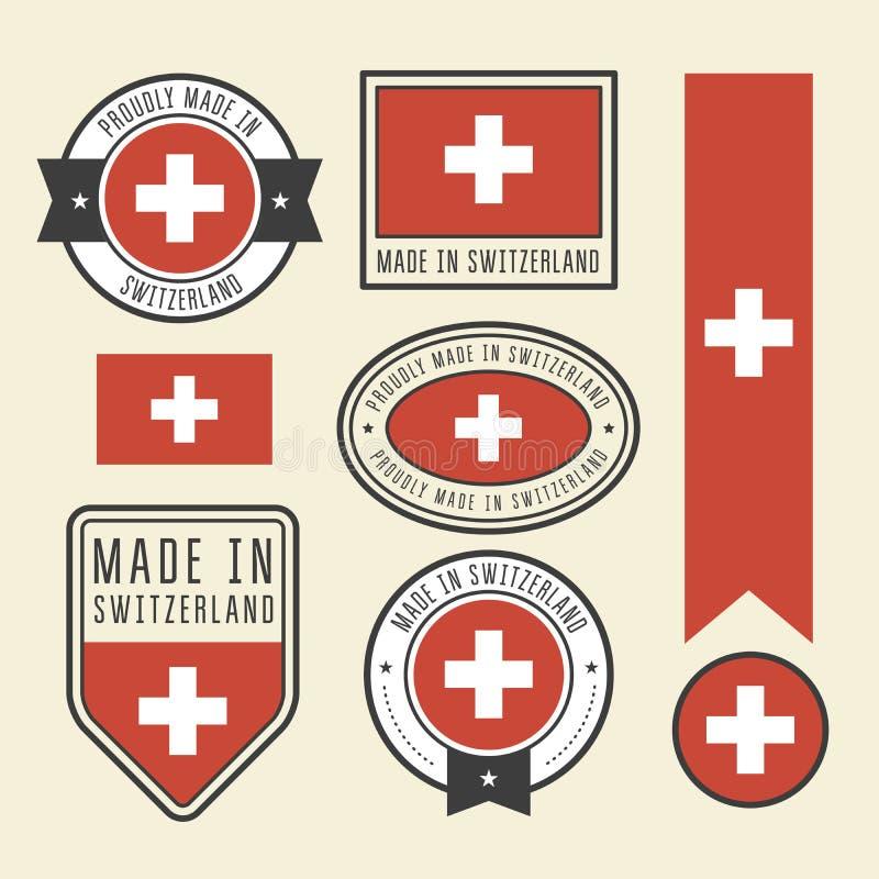 Etiquetas engomadas, etiquetas y etiquetas con la bandera de Suiza - insignias ilustración del vector