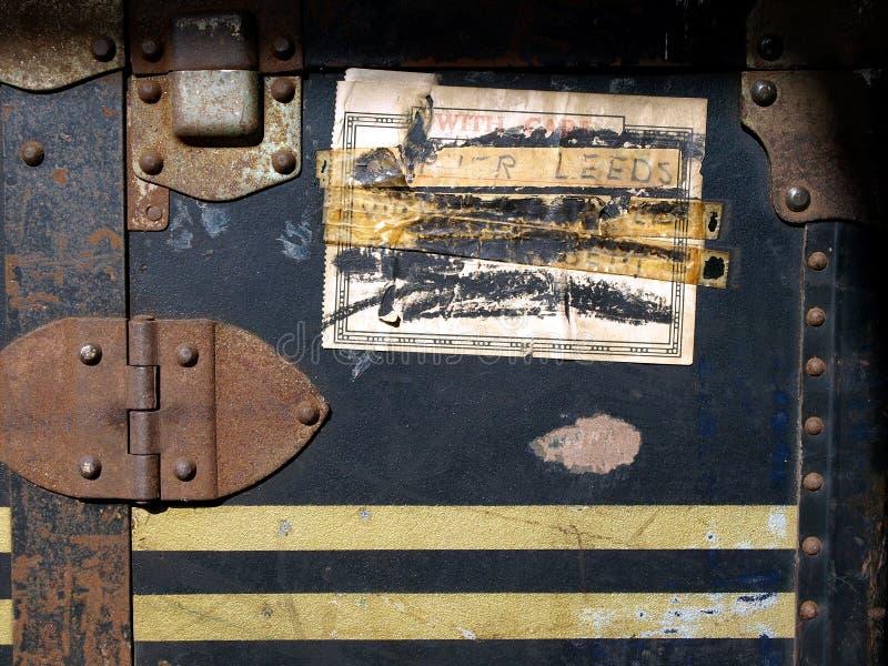 Etiquetas engomadas y escrituras de la etiqueta del caso del recorrido de la vendimia fotografía de archivo