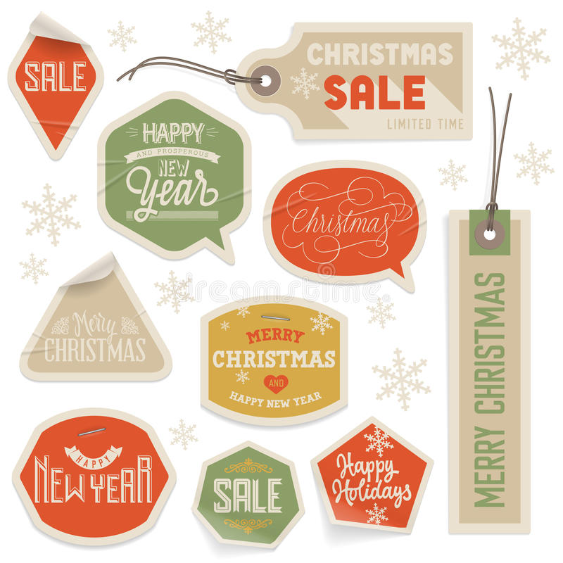 Etiquetas engomadas y etiquetas por la Navidad y el Año Nuevo libre illustration