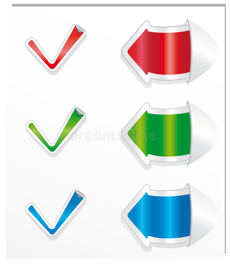 Etiquetas engomadas y flechas positivas de la marca de cotejo. stock de ilustración