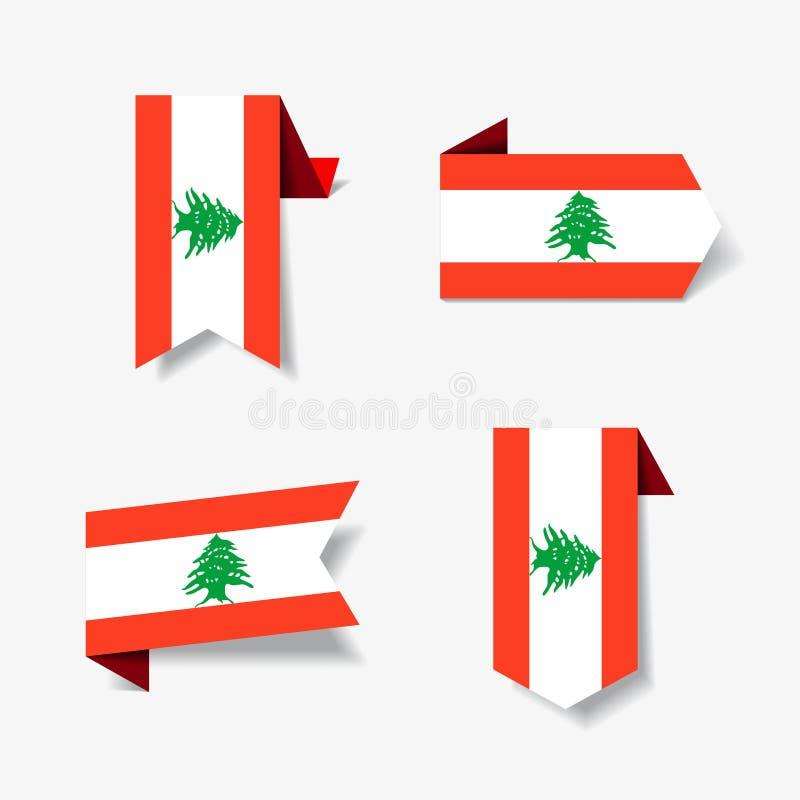 Etiquetas engomadas y etiquetas libanesas de la bandera Ilustración del vector ilustración del vector