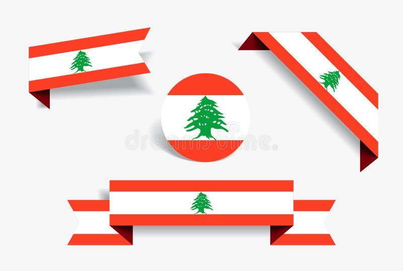 Etiquetas engomadas y etiquetas libanesas de la bandera Ilustración del vector libre illustration