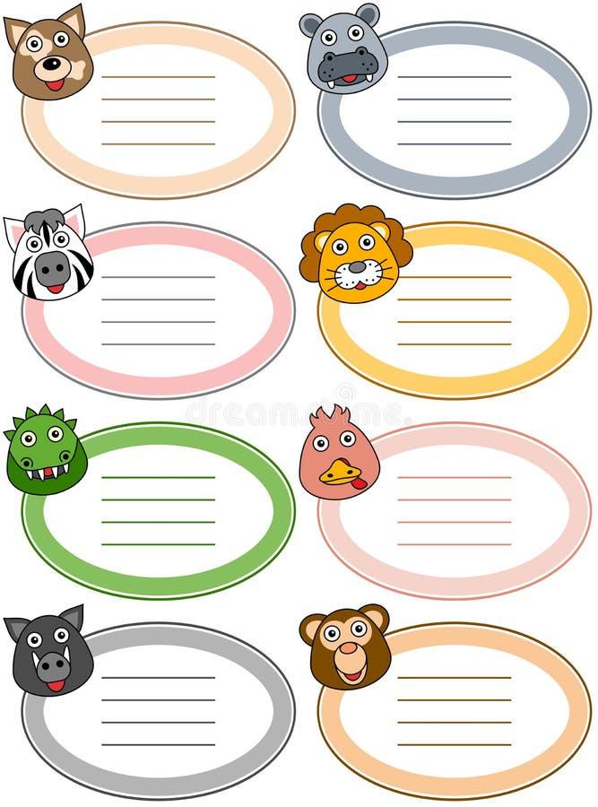Etiquetas engraçadas do animal dos desenhos animados [2] ilustração royalty free