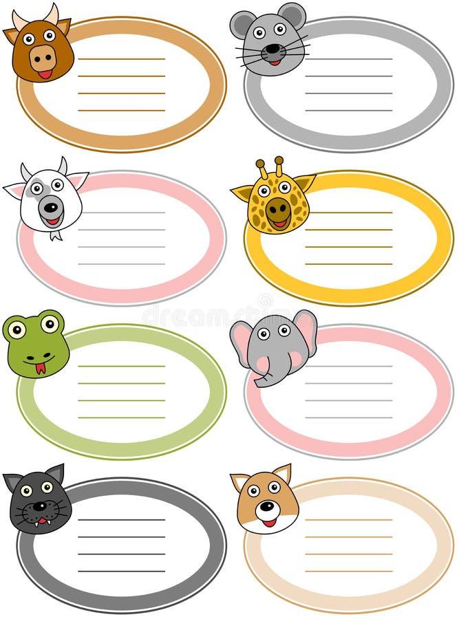 Etiquetas engraçadas do animal dos desenhos animados [4] ilustração do vetor