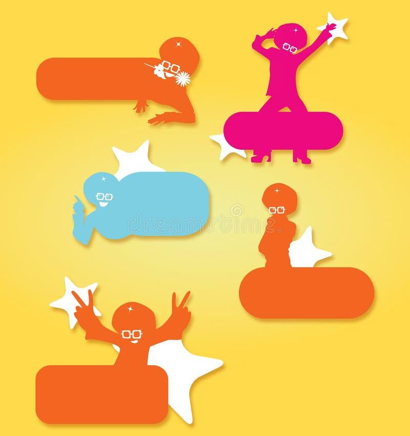 etiquetas enrrolladas de los caracteres de los años 70 en diversas posiciones ilustración del vector
