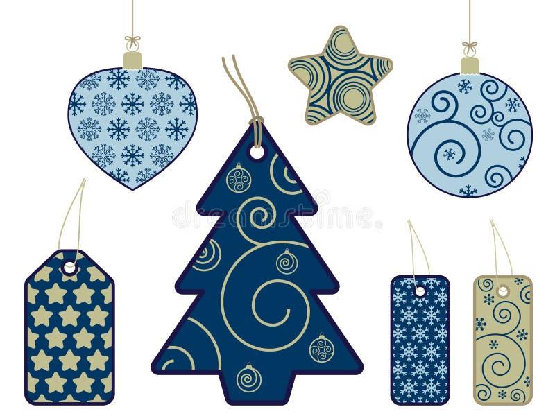 Download Etiquetas Estacionales En Azul Y Oro Ilustración del Vector - Ilustración de etiqueta, festivo: 7278959