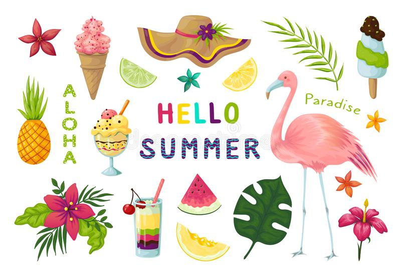Etiquetas exóticas Os elementos tropicais do verão bonito, flores dos cocktail de frutos do flamingo saem da coleção do álbum de  ilustração royalty free
