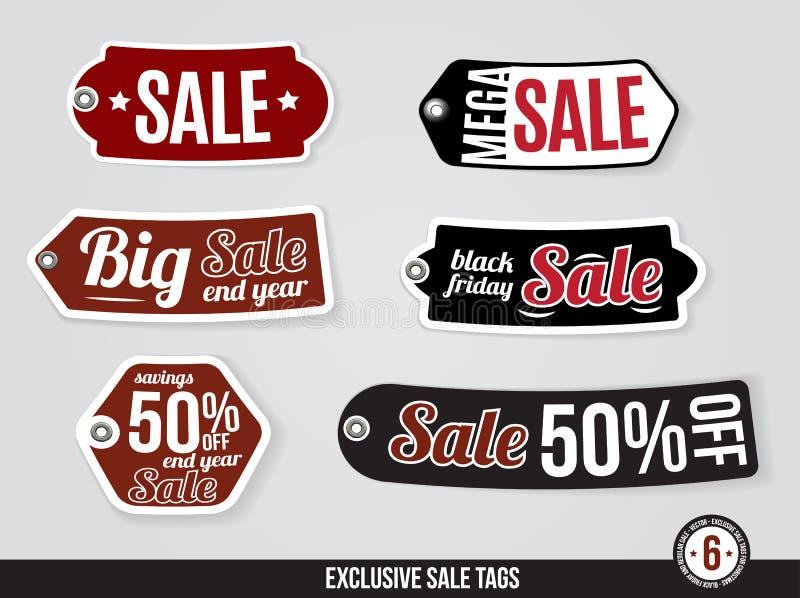 Etiquetas exclusivas de la venta del vector, etiquetas stock de ilustración
