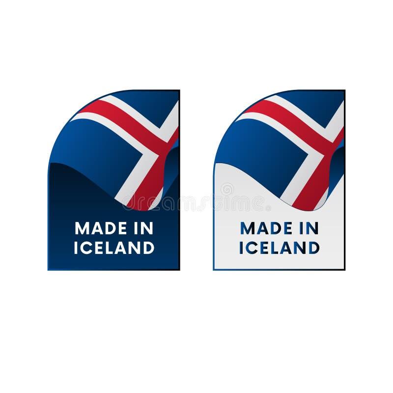 Etiquetas feitas em Islândia Ilustração do vetor ilustração do vetor