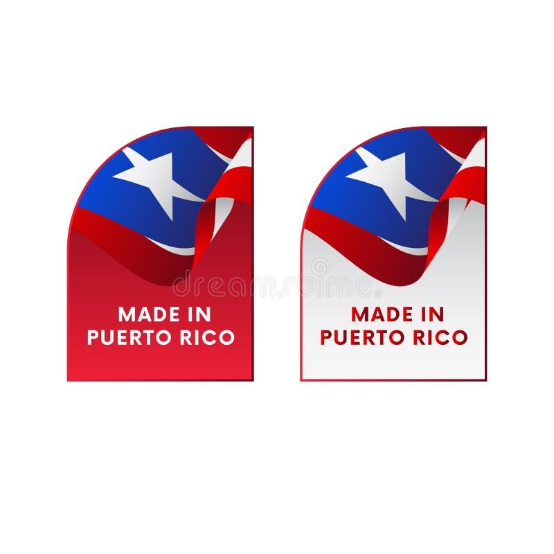 Etiquetas feitas em Porto Rico Vetor ilustração do vetor