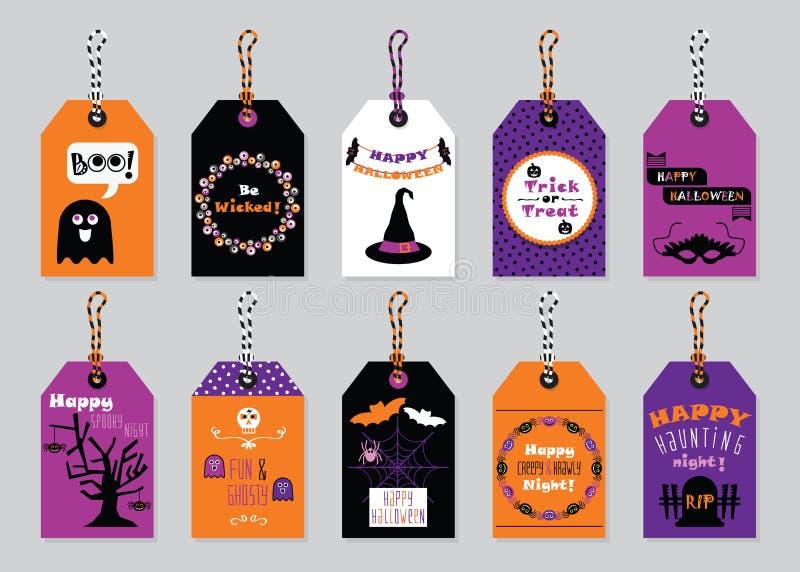 Etiquetas felizes do presente de Dia das Bruxas das cores da queda ajustadas no fundo cinzento na moda ilustração do vetor