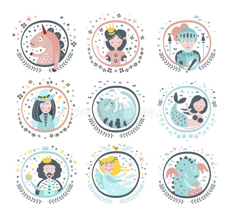 Etiquetas femininos dos heróis do conto de fadas em quadros redondos ilustração royalty free